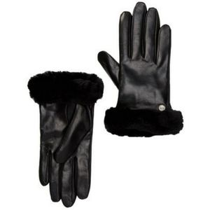 NWT UGG Genuine Shearling Black Leather Gloves S